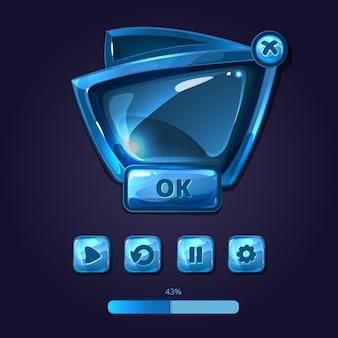 ガラスパネルとボタンゲームui漫画スタイル。光沢のあるインターフェイス、ユーザーgui、デザインテンプレート