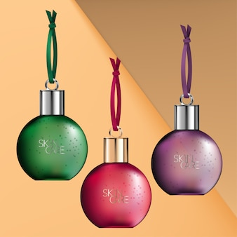Glass or plastic seasonal transparent bauble bottle body wash, shampoo or conditioner packaging. purple, green & red.