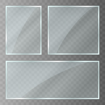 유리판. 눈부심과 빛으로 아크릴과 유리 질감. 사각형 프레임에 현실적인 투명 유리 창입니다. 벡터
