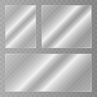 Glass plate. acrylic and glass texture with glares and light. realistic transparent glass window in rectangle frame. vector