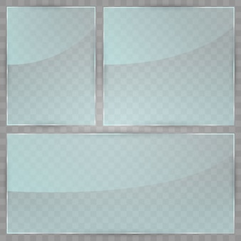 Glass plate  . acrylic and glass texture with glares and light. realistic transparent glass window in rectangle frame.