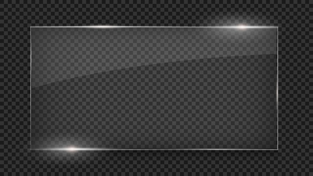 Glass plate, glass banner, glass frame isolated on transparent