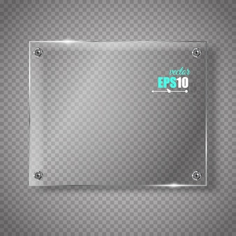 Glass plate.  glass banner on transparent.