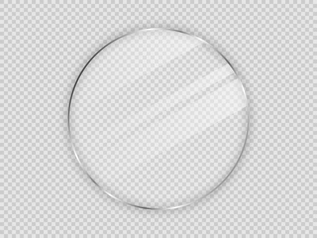 透明な背景で隔離の円フレームのガラスプレート。ベクトルイラスト。