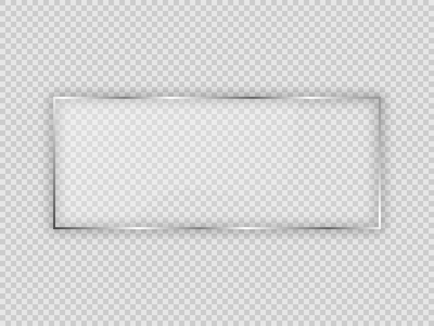 투명 한 배경에 고립 된 사각형 프레임에 유리 접시. 벡터 일러스트 레이 션.