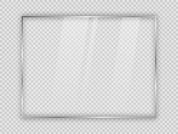 透明な背景に分離された長方形のフレームのガラスプレート。ベクトルイラスト。