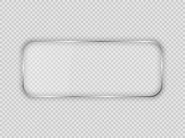 透明な背景で隔離の丸みを帯びた長方形のフレームのガラスプレート。ベクトルイラスト。