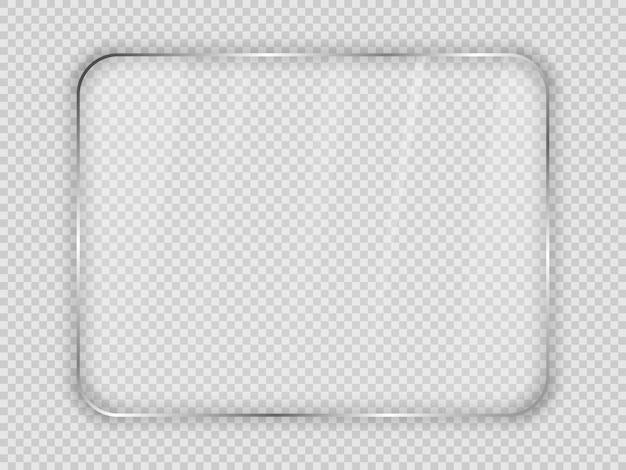 透明な背景に分離された丸みを帯びた長方形のフレームのガラス板。ベクトルイラスト。
