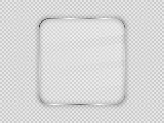 透明な背景に分離された丸みを帯びた正方形のフレームのガラスプレート。ベクトルイラスト。