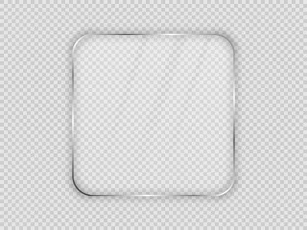 透明な背景に分離された丸みを帯びた正方形のフレームのガラス板。ベクトルイラスト。