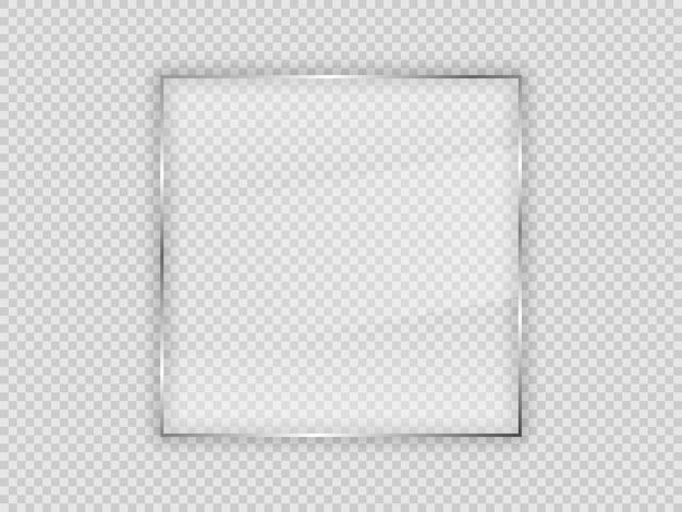 透明な背景に分離された正方形のフレームのガラスプレート。ベクトルイラスト。