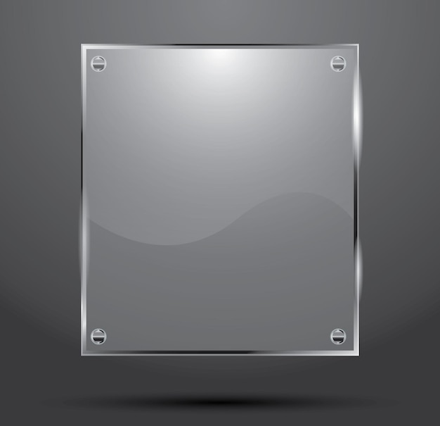 Glass plate isolated on dark background