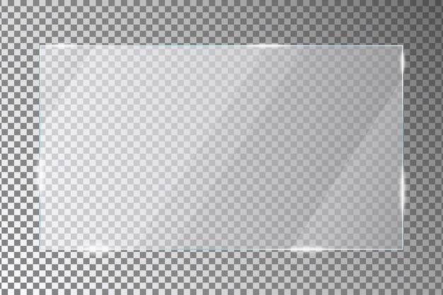 透明な背景の上のガラス板長方形の形のアクリルまたはプレキシガラス板ベクトル