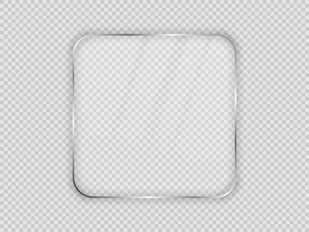 Glass plate in rounded square frame isolated on transparent background. vector illustration.