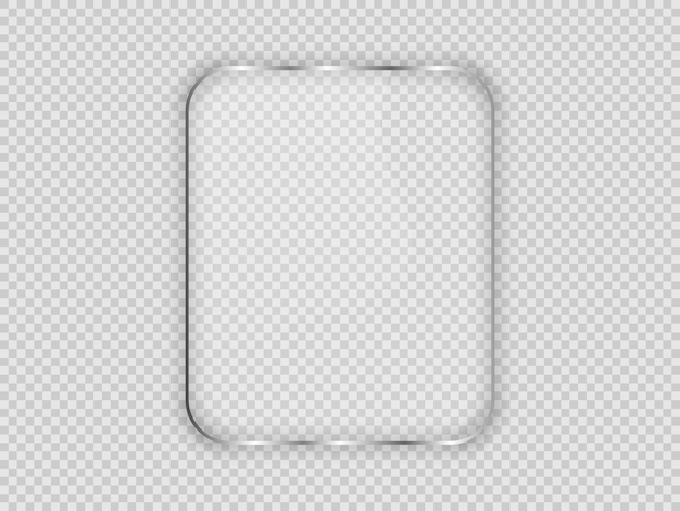Glass plate in rounded vertical frame isolated on transparent background. vector illustration.