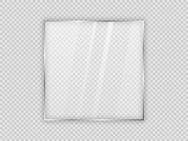 Glass plate in square frame isolated on transparent background. vector illustration.