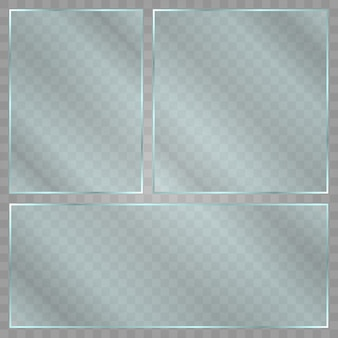 Glass plate on transparent background. acrylic and glass texture with glares and light. realistic transparent glass window in rectangle frame.