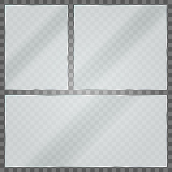 Glass plate on transparent background. acrylic and glass texture with glares and light