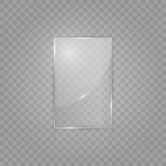 Glass plate on transparent background. acrylic and glass texture with glares and light.