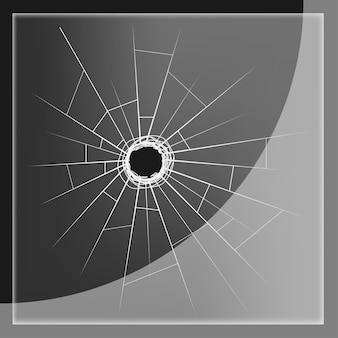 Glass plate with bullet hole