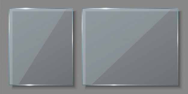 Glass plates, empty blank banners background.