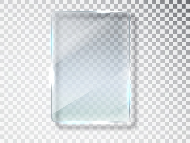 Glass plates. glass isolated on transparent background. flat glass. realistic texture with highlights and glow on the transparent