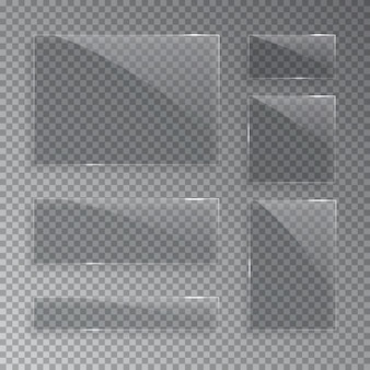 Glass plates isolated on transparent background