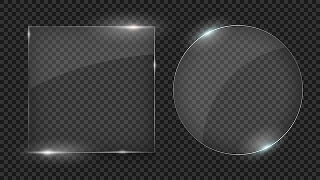Glass plates, set of different shapes, glass frames isolated on transparent