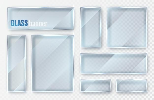 ガラスプレートセット。ガラスバナー平らなガラスの透明な窓。