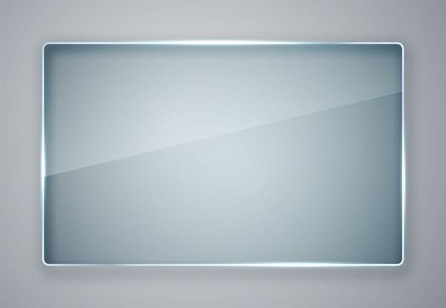 ガラスプレートセット。透明な背景にガラスのバナー。板ガラス。