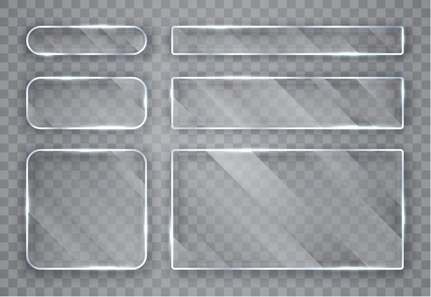 ガラスプレートセット。透明な背景にガラスのバナー。