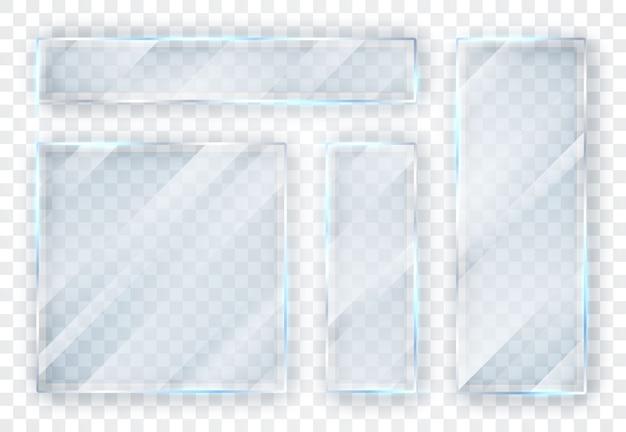 유리 접시 세트. 투명 한 배경에 유리 배너입니다.