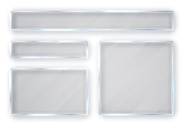 ガラスプレートセット。白い背景の上のガラスのバナー。板ガラス。