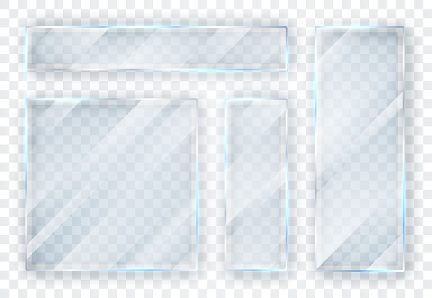 Glass plates set. glass banners on transparent background.