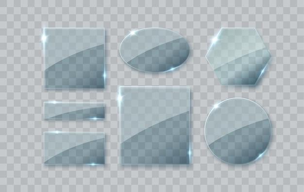 Стеклянные тарелки набор векторных стеклянных баннеров на прозрачном фоне