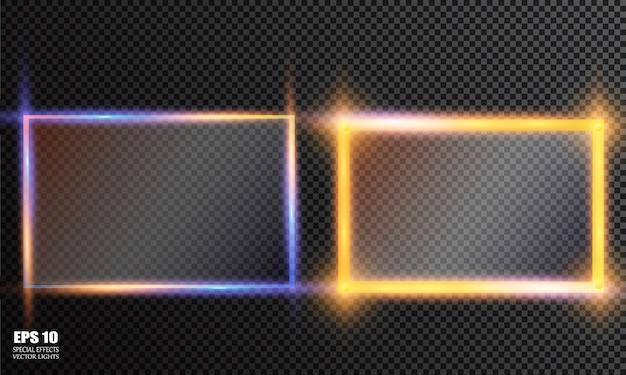 ガラスプレートセット。透明な背景の上のベクトルガラスバナー