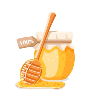 Glass pot with honey, spoon with drips honey isolated on white background.