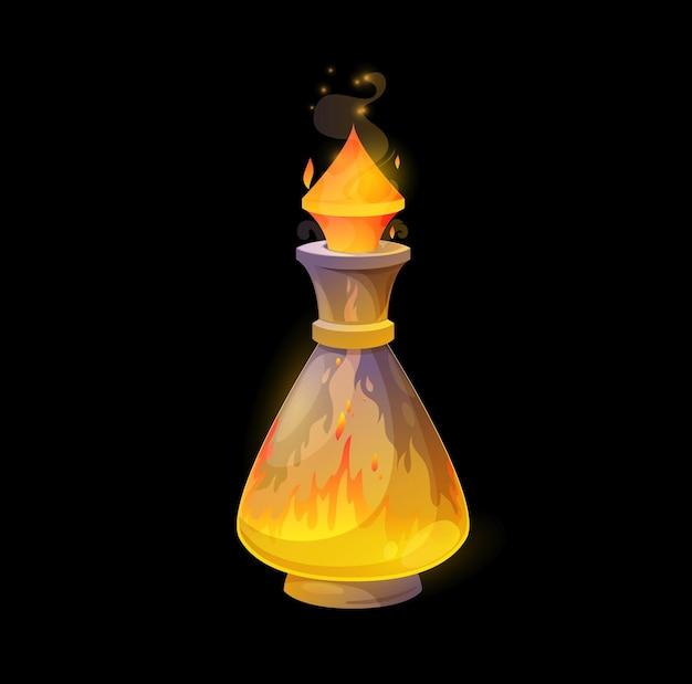 Стеклянная бутылка зелья с огнем, оранжевое пламя бушует в колбе. вектор волшебный эликсир, заклинание с языками всплеска пламени. элемент мультфильма для дизайна пользовательского интерфейса волшебной игры. актив ведьмы, изолированные на черном фоне