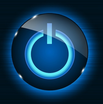 Glass power button icon on abstract background. vector illustrat