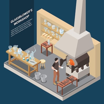 Glass production isometric  composition