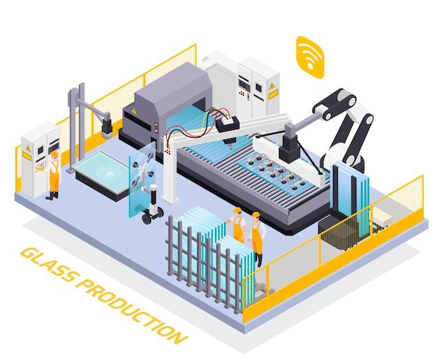 Illustrazione isometrica di produzione del vetro
