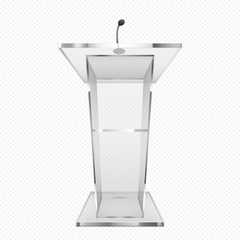 Glass pulpit, podium or tribune, rostrum stand