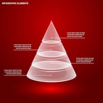 Glass pyramid infographic template,