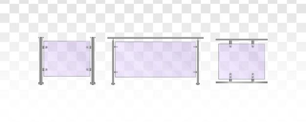 白い背景の上のガラスの手すり。家の階段、家のバルコニー、歩道のフェンス用の金属製の管状の手すりと透明なシートを備えたガラスフェンスのセクション。図。 eps 10。