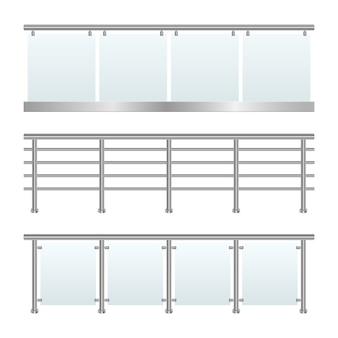 Glass railing set   illustration on white background