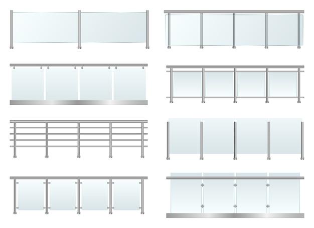 Glass railing set, isolated on white background