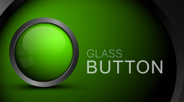 Glass realistic green button on green