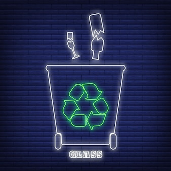 유리 재활용 폐기물 분류 컨테이너 아이콘 네온 스타일, 환경 보호 레이블 평면 벡터 일러스트 레이 션, 검정에 격리. 쓰레기통에는 그린 에코 기호가 있습니다.
