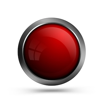 Glass red button round shape for web design.