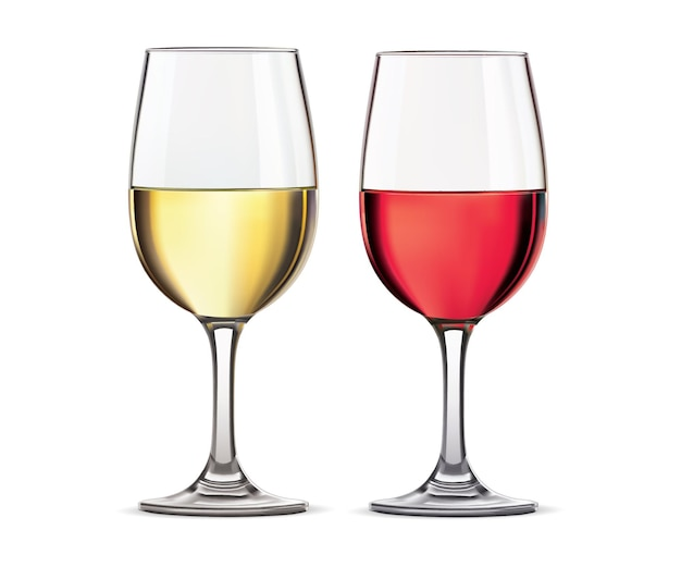 Glass of red and whine wine isolated. realistic  illustration